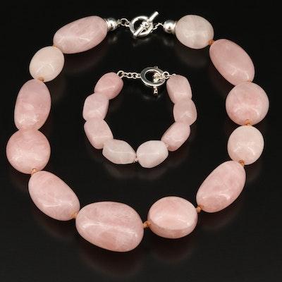 Ralph Lauren Rose Quartz Necklace and Bracelet Set