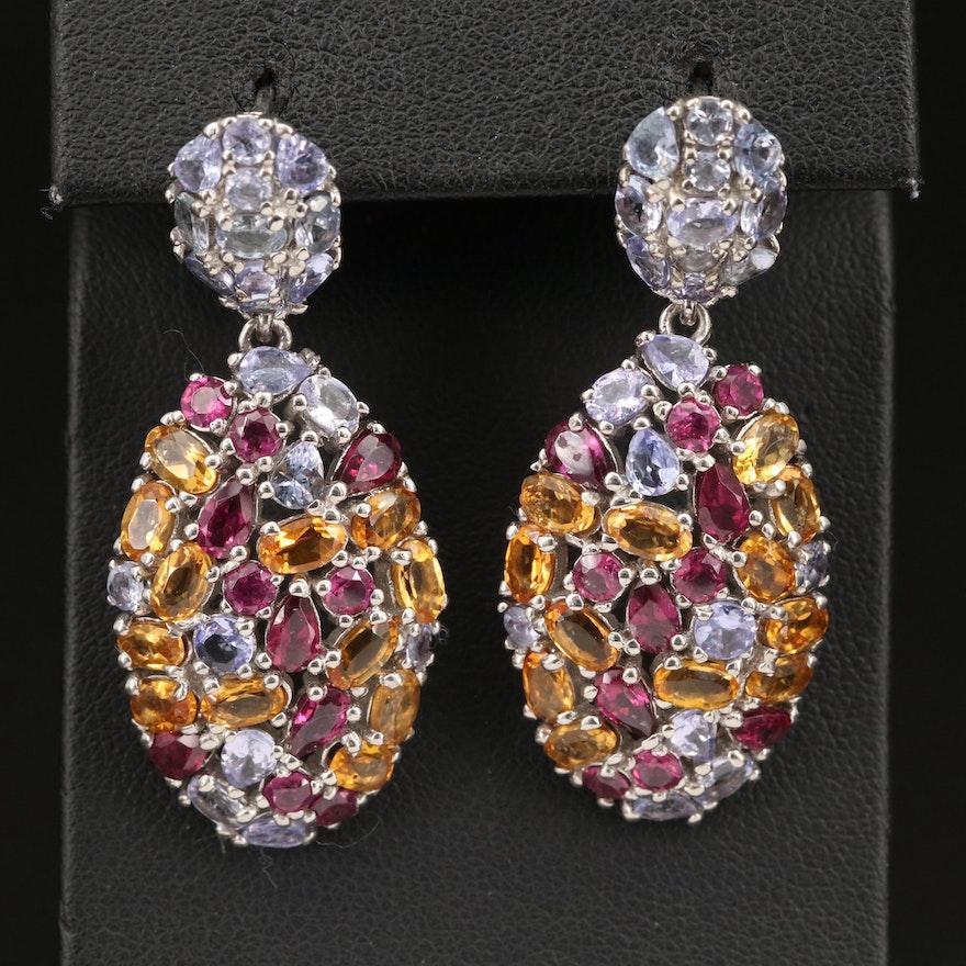 Sterling Tanzanite, Rhodolite Garnet and Citrine Cluster Earrings