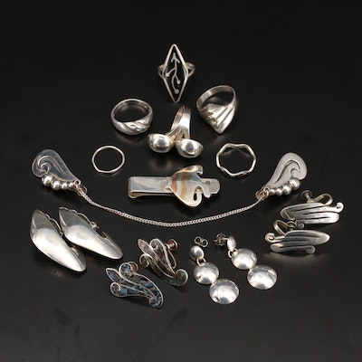 Sterling Jewelry Including Vintage Sweater Clips, Abalone and Mexican Sterling