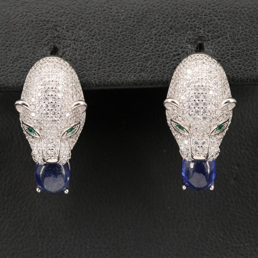 Sterling Corundum and Cubic Zirconia Cat Earrings