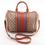 Gucci Boston Bag in GG Canvas with Orange Leather Trim