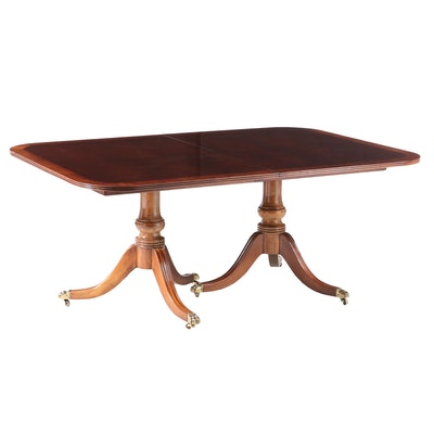 Henredon Duncan Phyfe Style Walnut Double Pedestal Dining Table