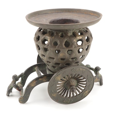 Japanese Cast Iron Train Cart Garden Candle Lantern, Mid to Late 20th Century