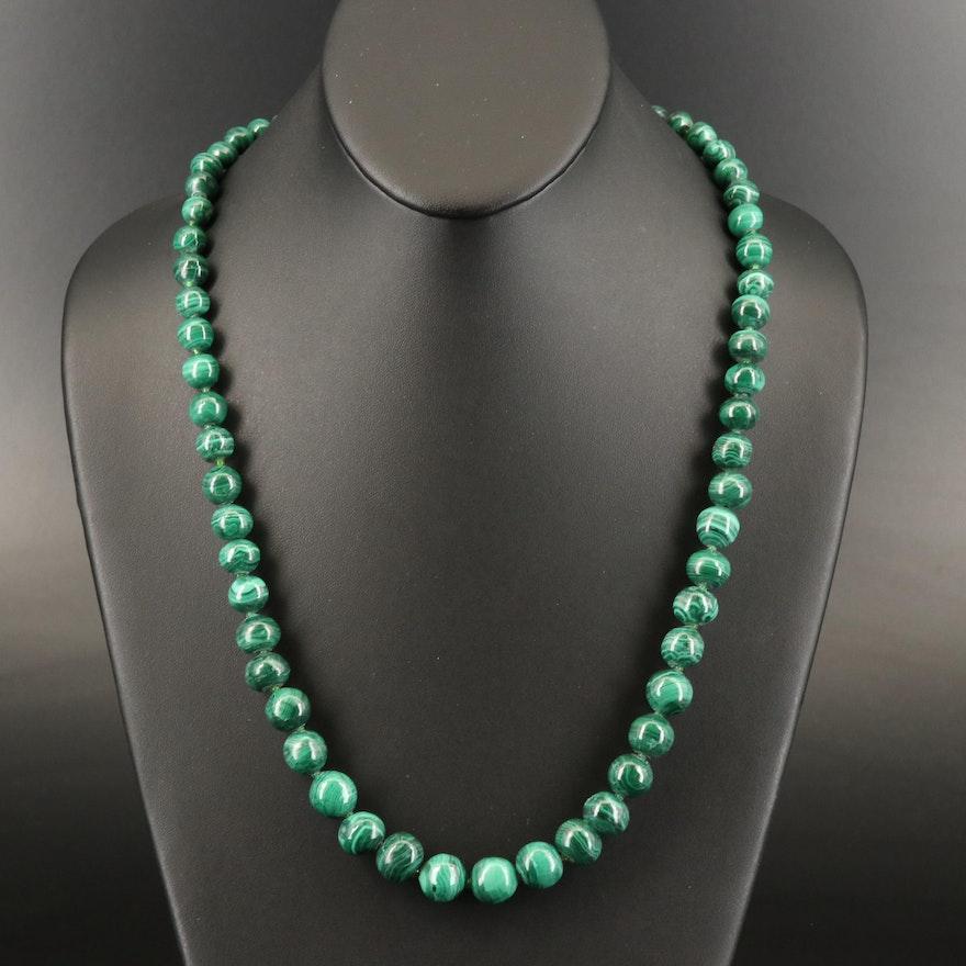 Malachite and Glass Graduated Necklace