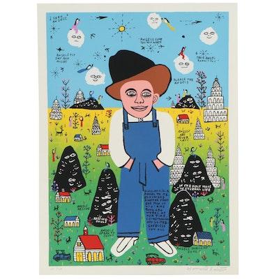 "Howard Finster Folk Art Serigraph ""Elvis at 3 Is a Angel to Me"""