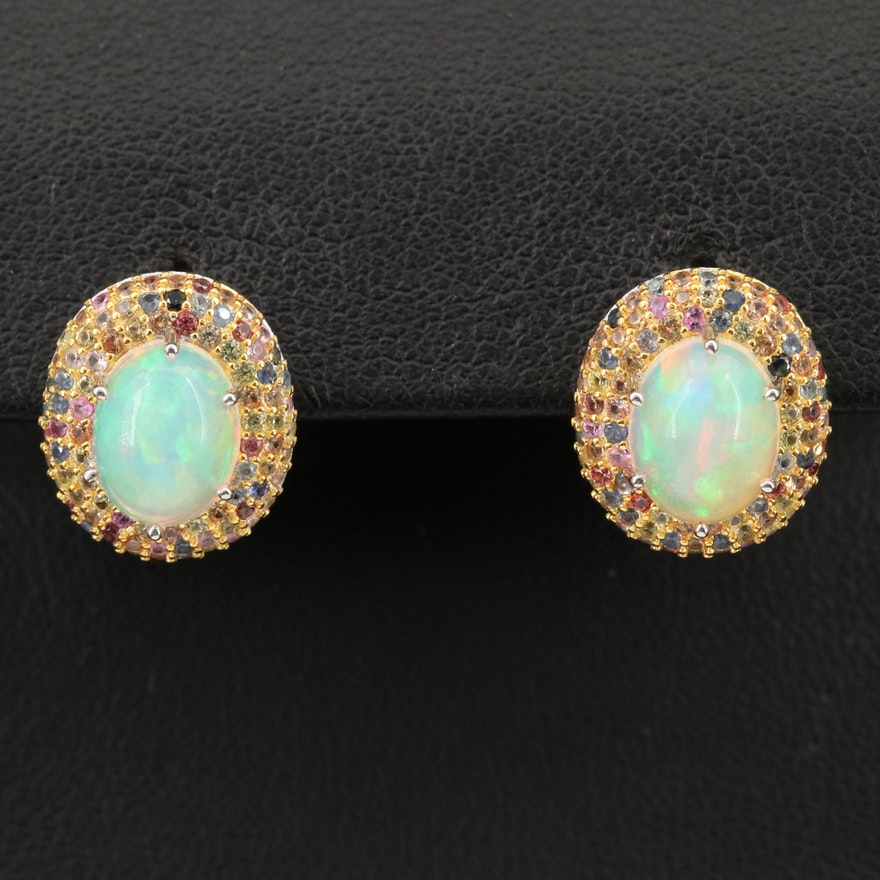Sterling Silver Opal, Ruby and Sapphire Earrings