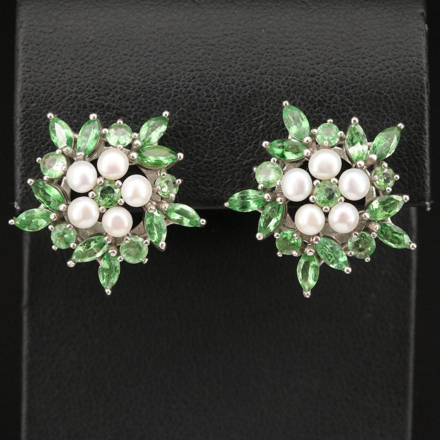 Sterling Silver Tsavorite and Pearl Earrings