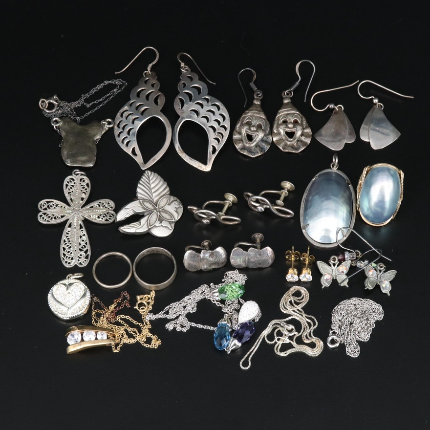 Jewelry Including Sterling Silver, Pearls and Rhinestones