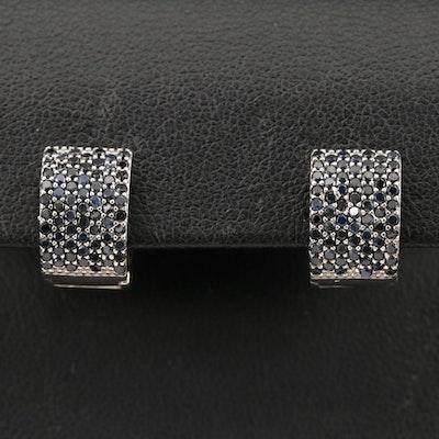 Sterling Silver Sapphire Huggie Earrings
