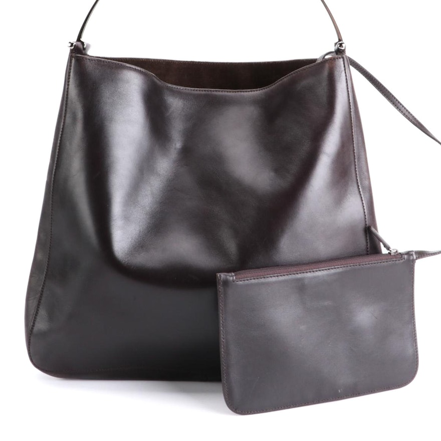 Gucci Smooth Brown Leather Hobo Bag with Pouch