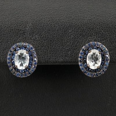 Sterling Silver Aquamarine, Sapphire Halo Earrings