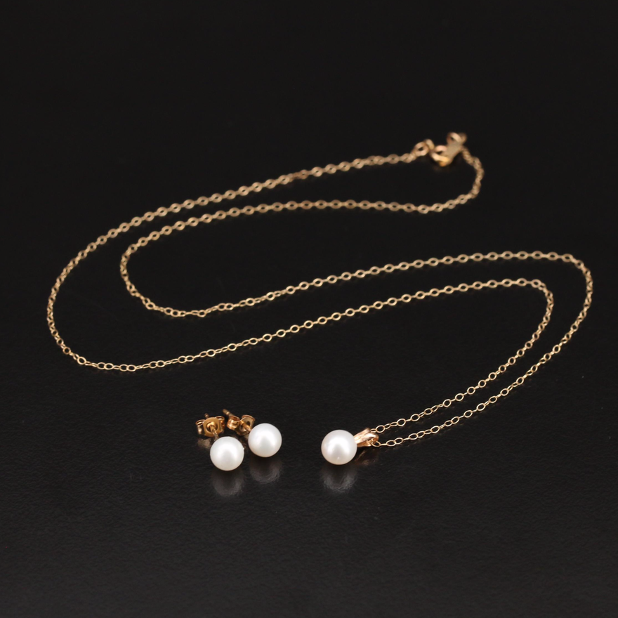 10K Pearl Pendant Necklace and Earring Set