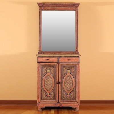 Arhaus Southeast Asia Inspired Painted Cabinet and Wall Mirror