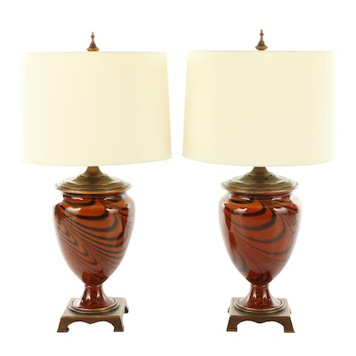 Pair of Contemporary Rust and Black Swirl Ceramic Table Lamps