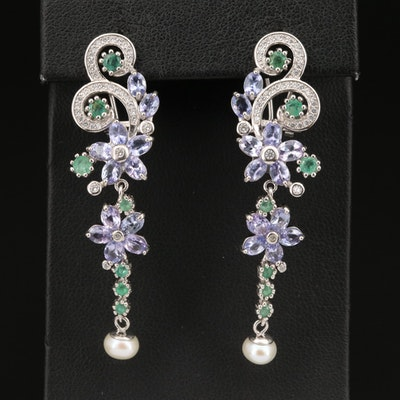 Sterling Silver Emerald, Tanzanite and Pearl Earrings with Floral Design