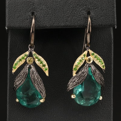 Sterling Silver Fluorite, Diopside and Smoky Quartz Foliate Earrings