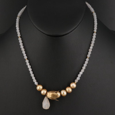 Quartz and Pearl Necklace with Sterling Silver Clasp