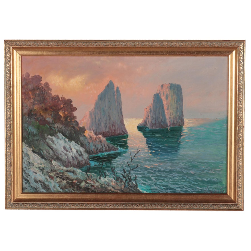 Impressionist Style Capri Seascape Oil Painting, Mid-20th Century