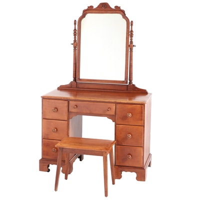 Colonial Style Maple Kneehole Vanity with Stool, Early to Mid 20th Century