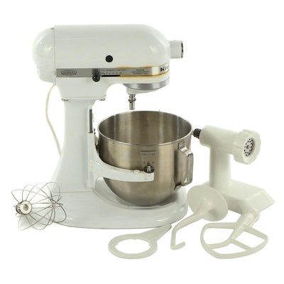 White KitchenAid Stand Mixer with Accessories