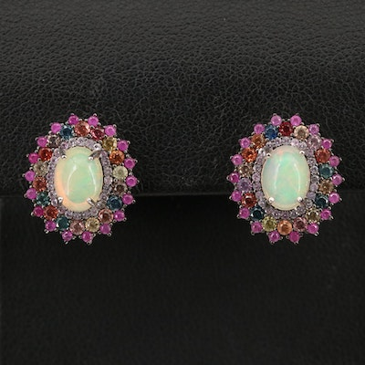 Sterling Silver Opal, Sapphire and Ruby Earrings