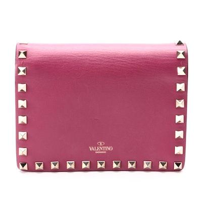 Valentino Rockstud Crossbody Wallet Clutch in Dark Pink Leather