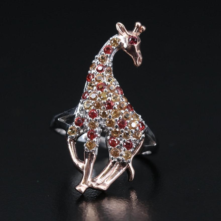 Sterling Sapphire Giraffe Ring
