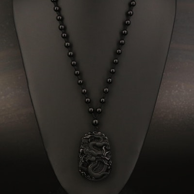 Carved Glass and Beaded Necklace
