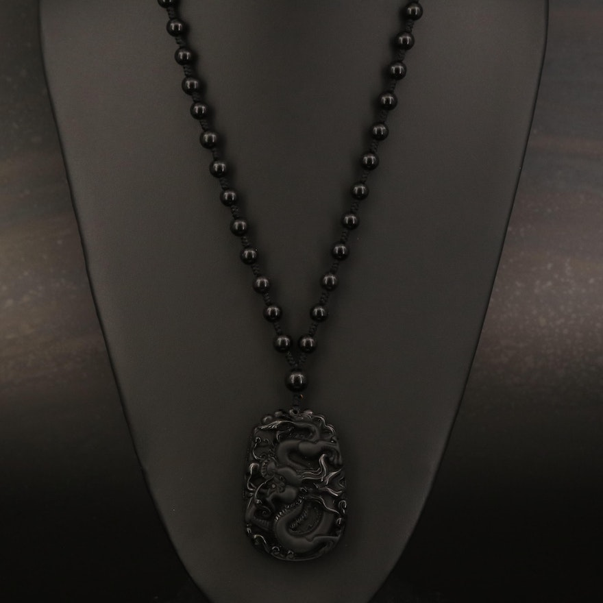 Carved Obsidian and Beaded Necklace
