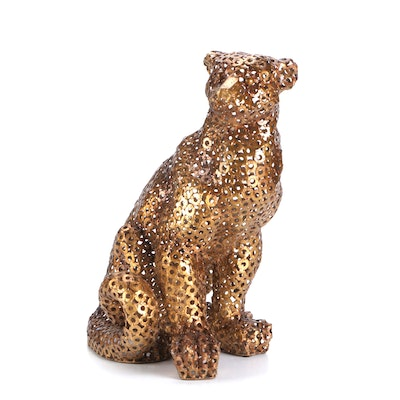 Welded Steel Washers Leopard Statuette, Mid to Late 20th Century