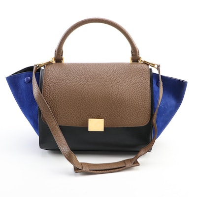 Céline Small Trapeze Bag in Tricolor Leather and Suede