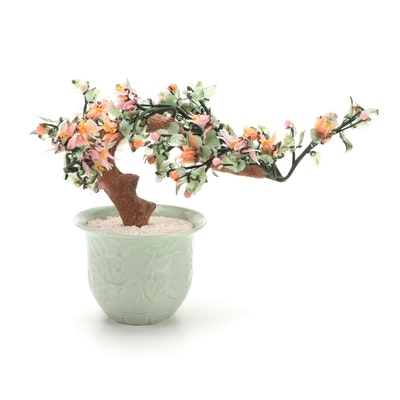 Chinese Dyed Glass Bonsai Tree in Celadon Ceramic Pot