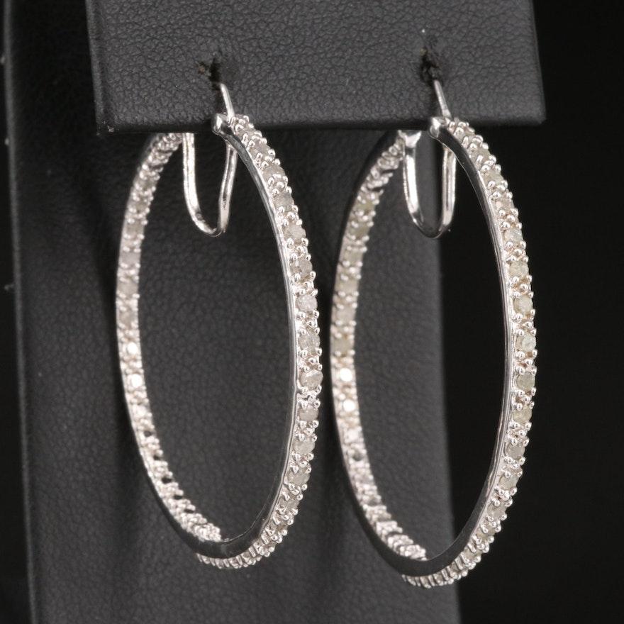 Sterling Silver 1.02 CTW Diamond Inside-Out Hoop Earrings
