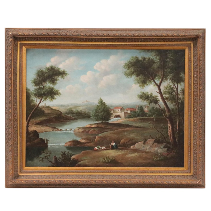 Continental School Style Landscape Oil Painting, Late 20th Century