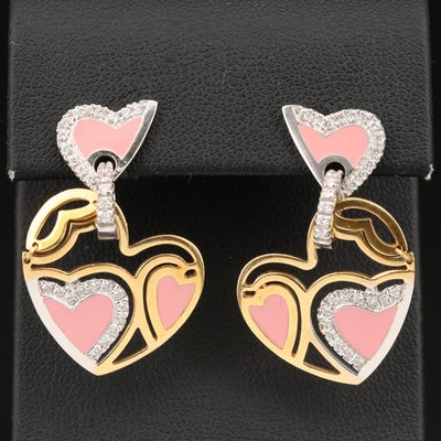 Roberto Coin 18K Diamond and Enamel Heart Drop Earrings