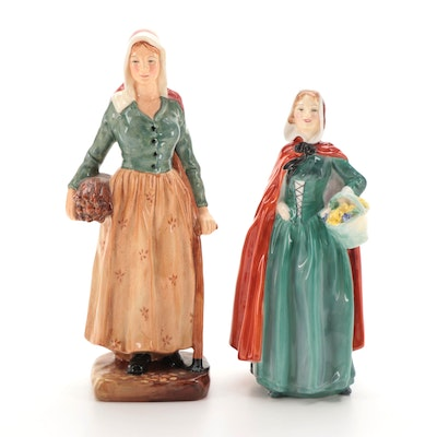"""Royal Doulton """"Jean"""" and """"French Peasant"""" Bone China Figurines"""
