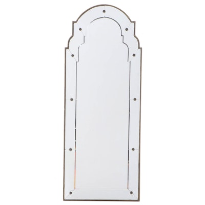 Venetian Style Beveled and Arched Wall Mirror, Contemporary