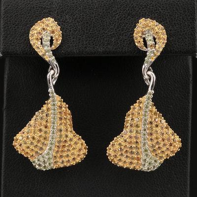 Sterling Silver Pavé Sapphire Manta Ray Earrings