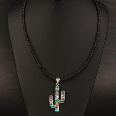Sterling Cactus Pendant Necklace Including Abalone, Opal and Turquoise