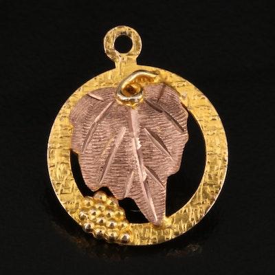 10K Tri-Color Gold Grape Leaf Pendant