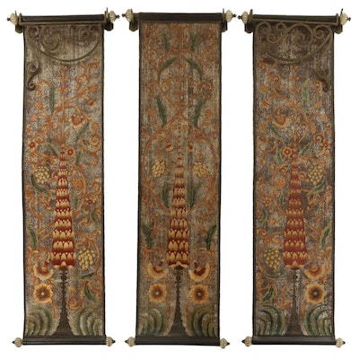 The Bombay Company Painted Faux Leather Tree Motif Wall Hangings