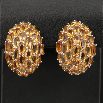 Sterling Silver Citrine Domed Button Earrings