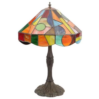 Artworks Art Nouveau Spelter Lamp with Multicolor Pop Art Glass Shade