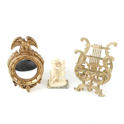 """Syroco Federal Style Mirror, """"The Three Graces"""" Figurine, and Magazine Rack"""