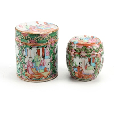 Chinese Export Rose Medallion Porcelain Tea Caddies, Late 19th / Early 20th C.
