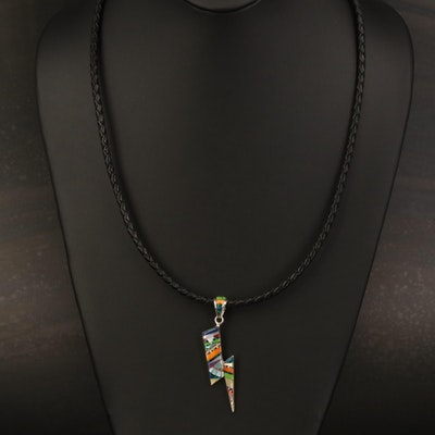 Sterling Pendant Necklace Including Abalone, Spiny Oyster and Opal