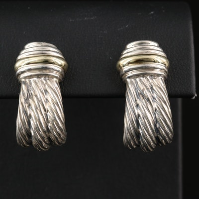 David Yurman Sterling Silver Cable J Hoop Earrings with 14K Accent