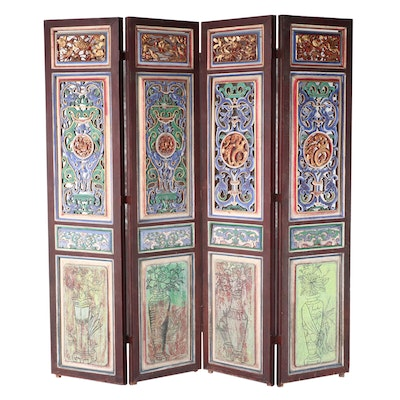Monumental Chinese Polychrome-Decorated & Parcel-Gilt Four-Panel Folding Screen