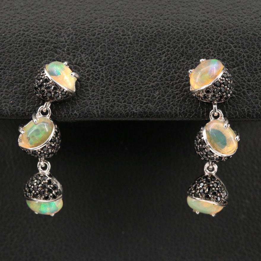Sterling Silver Opal and Cubic Zirconia Drop Earrings