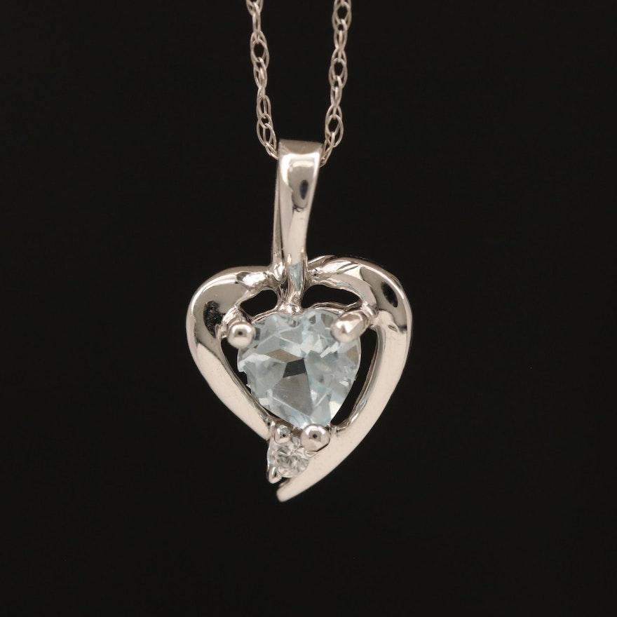 10K Aquamarine and Cubic Zirconia Heart Pendant Necklace